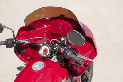 Indian Scout with fairing viewed from behind | Wedge Fairing