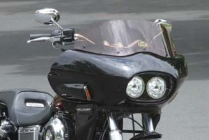 close-up of a dyna motorcycle with a wedge fairing