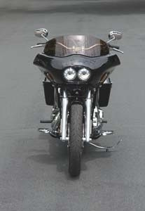 front view of a dyna motorcycle with a wedge fairing