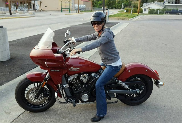 Indian scout with fairing and rider