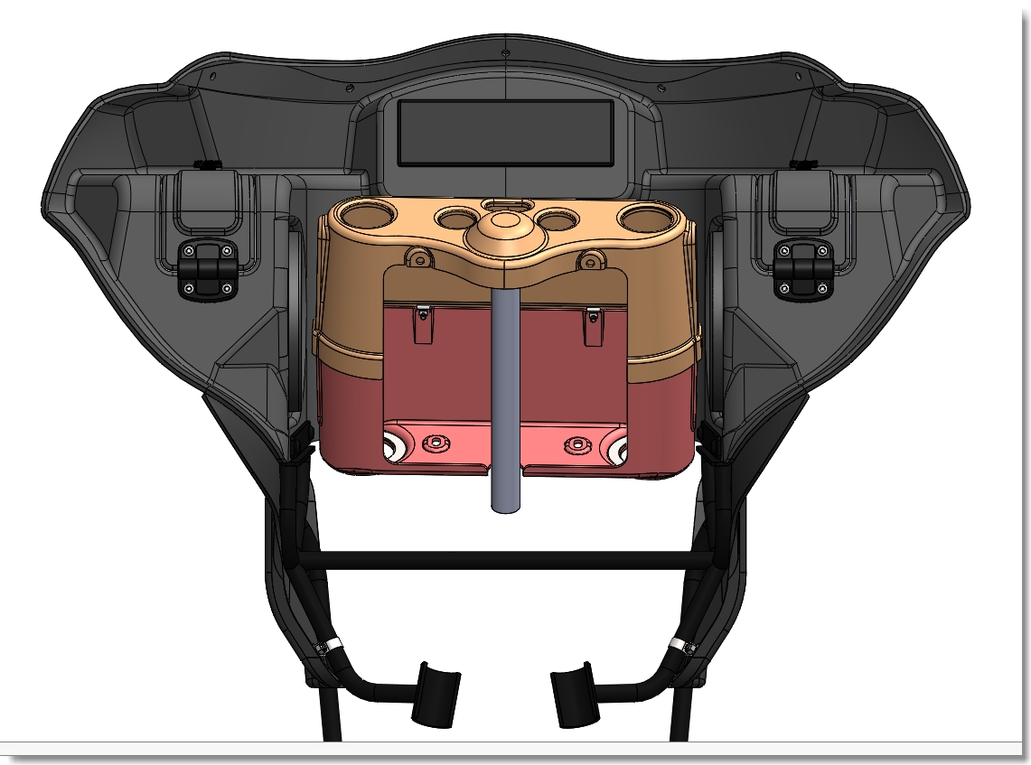 line drawing of fairing with slot for radio and triple tree cover | Wedge Fairing