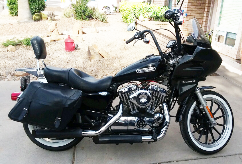 black sportster with fairing