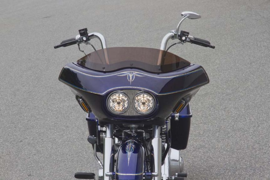 Custom Shovelhead Bagger Motorcycle with Fairing - front view closeup | Wedge Fairing