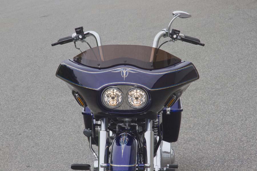 Custom Shovelhead Bagger Motorcycle with Fairing - front view closeup   Wedge Fairing