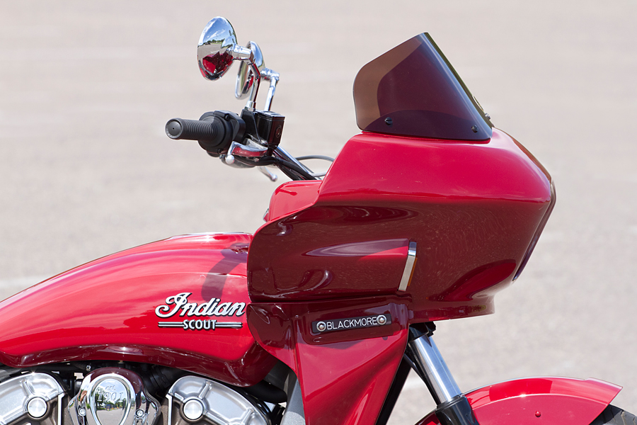 indian scout motorcycle fitted with a fairing | Wedge Fairing