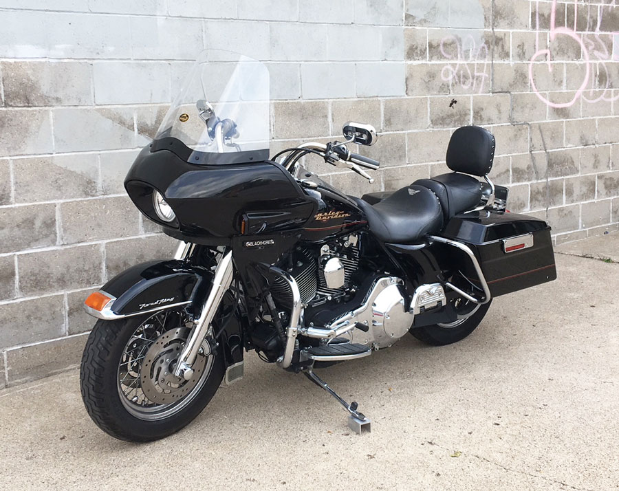 road king with frame mounted fairing and windshield